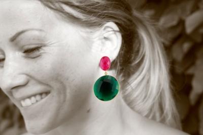 Dunkles Pink und Dunkles Grün