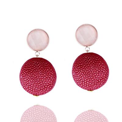 Schlangenleder - Ohrringe in rosa-rot
