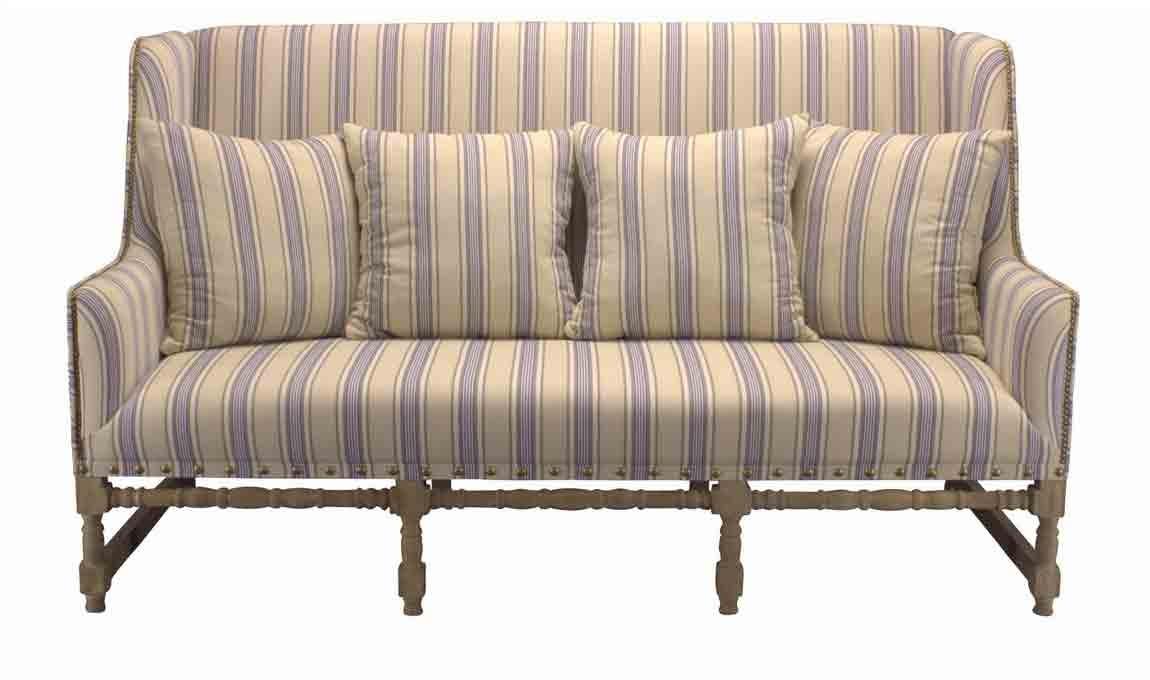 streifensofa in franz sischer eleganter optik aus eiche und leinen. Black Bedroom Furniture Sets. Home Design Ideas