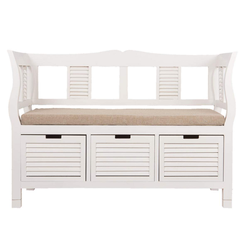 elegante holzbank in wei. Black Bedroom Furniture Sets. Home Design Ideas