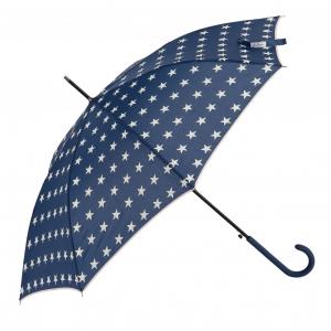 blauer Regenschirm mit Sternen