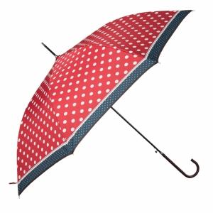 Roter Regenschirm mit Punkten