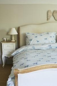 Labrador -Bettwäsche in  blau mit Streifen
