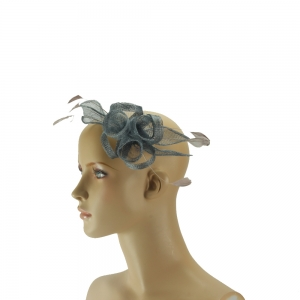 Fascinator - graue mit Feder