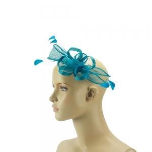 Fascinator - blau mit Federn