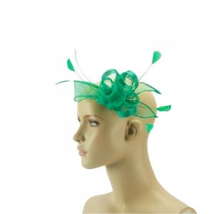 Fascinator - grün mit Federn