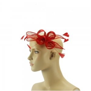 Fascinator - leuchtend rot mit Feder