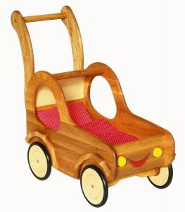 Puppenwagen aus massivem Holz