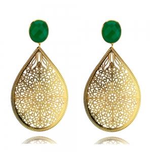 Ornamenttropfen in gold und grün - Ohrclips