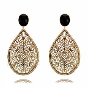 Ornamenttropfen in gold und schwarz - Ohrclips