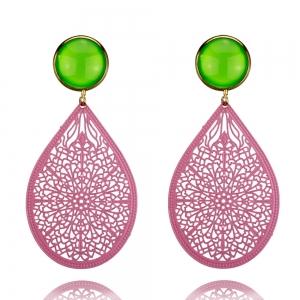 Ornamenttropfen in rosa und grün - Ohrclips