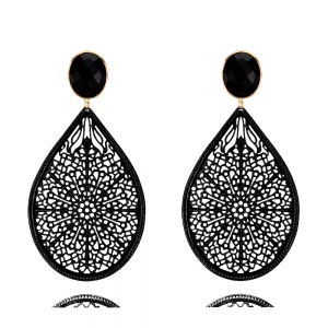 Ornamenttropfen in schwarz und schwarz - Ohrclips