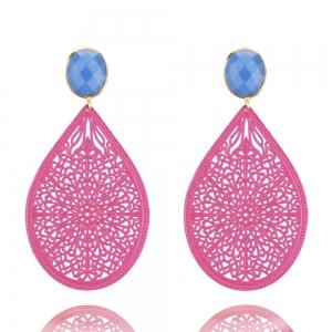 Pinkes Ornament und Himmelblau - Ohrclips