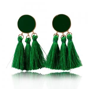 Quastenohrringe in grün - Ohrclips