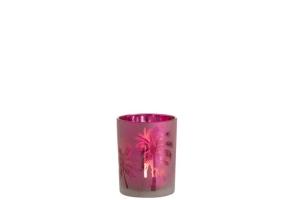 Windlicht in pink mit Palme - Größe M