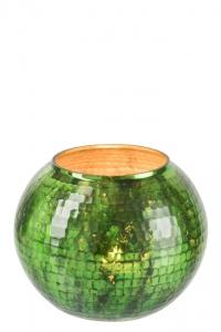Windlicht aus gehämmerten grünem Glas - kleinere Variante