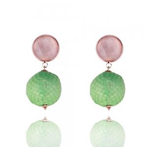 Schlangenlederohrringe in pink und grün - Ohrclips
