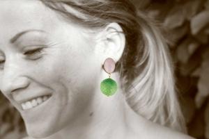 Schlangenlederohrringe in ovalem rosé und grün - Ohrclips