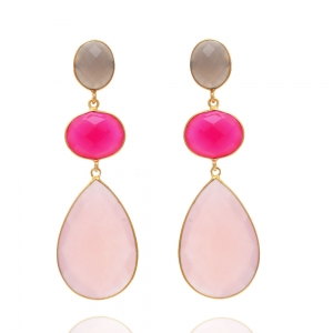 Lange Edelsteinkette in rose, pink und grau