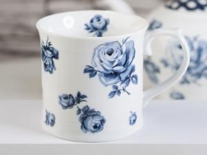 Tasse weiß blau