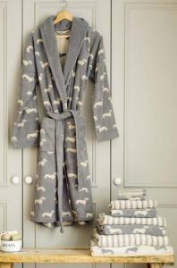 grauer Bademantel mit Dackeln für Damen oder Herren