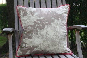 Toile de jouy taupe/creme