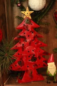 rotes Weihnachtsbaum-Windlicht